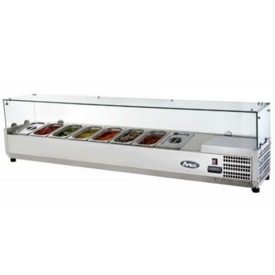 Présentoir à ingrédients réfrigéré avec comptoir vitrée - Bac GN 1/4 x8