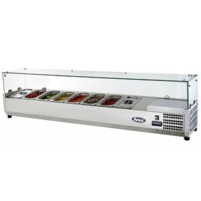 Présentoir à ingrédients réfrigéré avec comptoir vitrée - Bac GN 1/3 x8