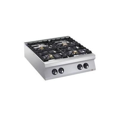 Cuisinière 4 feux vifs gaz (1x 10kW et 3x 6kW)
