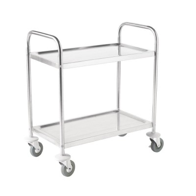 Chariot Inox taille moyenne 2 plateaux