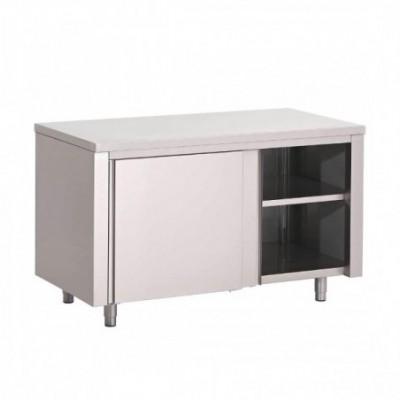 Table armoire inox avec porte coulissante 1000mm