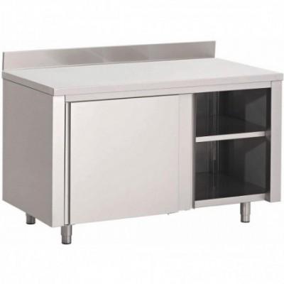 Table armoire inox avec porte coulissante et dosseret 1000mm