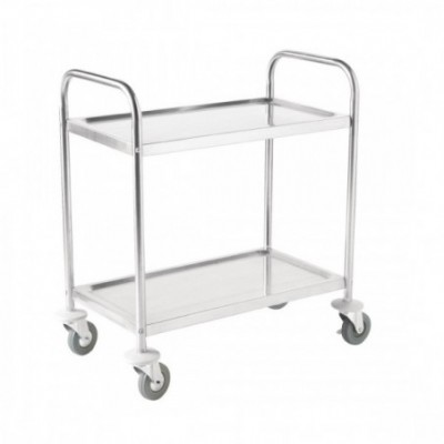 Chariot Inox petite taille 2 plateaux