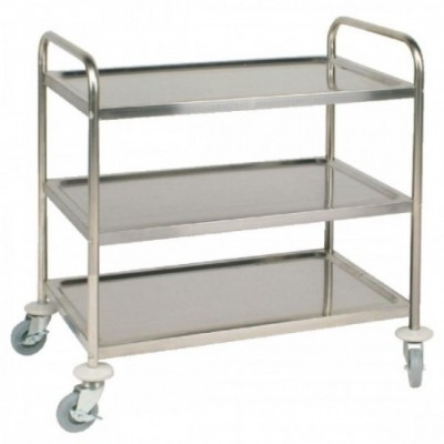 Chariot Inox taille moyenne 3 plateaux